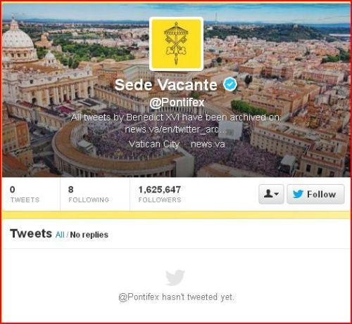 pontifex has not tweeted yet - sede vacante